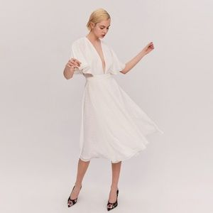 Fame and Partners Sylvan Swiss Dot Midi Dress
